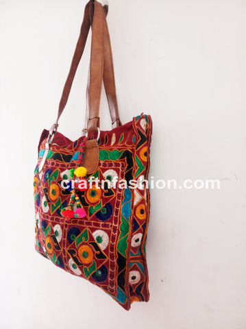 Multicolored Bohemian Bag with Leather Belt