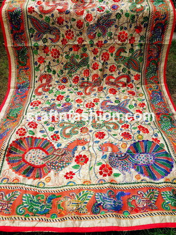 Phulkari Embroidery Hand Stitches Stole
