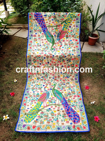 Peacock Design Embroidered Phulkari Stole