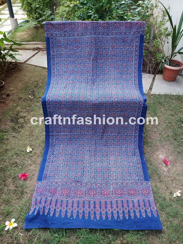 Blue Colored Ajrakh Hand Block Print Stole