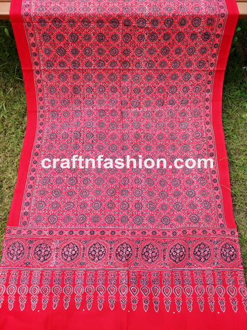 Traditional Hand Block Printed Ajrakh Stole