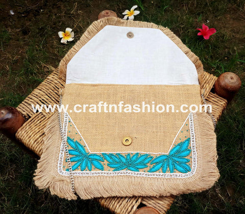 Pearl Beaded Embroidered Jute Clutch Purse