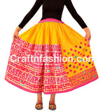 Multicolored Cotton Skirt with Vintage Kutchi Embroidery
