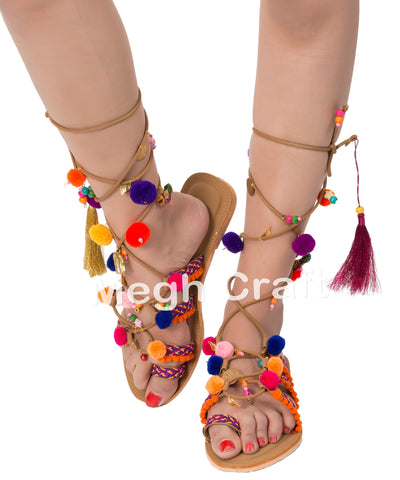 Gladiator Pom Pom Leather Sandals