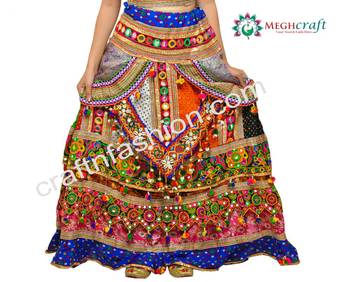Multi Colored Kutch Embroidery Chaniya Choli