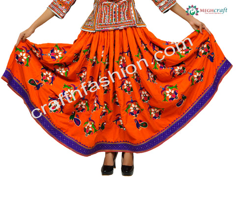 Orange Peacock Embroidery Navratri Skirt