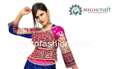 Blue Colored Navratri Wear Backless Blouse