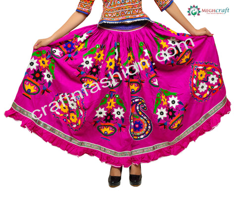 Floral Kutch Hand Embroidery Traditional Skirt