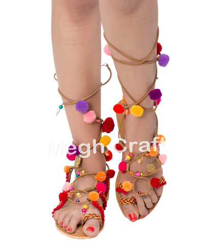 Pom Pom With Tassel Charms Sandals