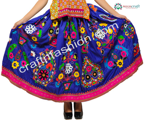 2018 Multi Color Embroidered Navratri Skirt