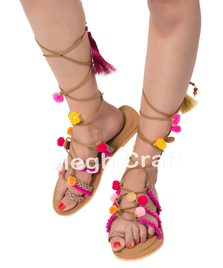 Ladies Pom Pom Sandals-Greek Leather Sandles