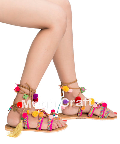 Colorful Bohemian Pom Pom Sandals