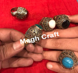 Stone Beaded German Silver Afghan Ring