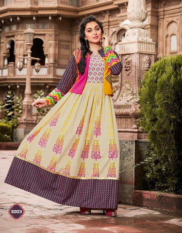 Designer Long Cotton Kurti With Separate Jacket