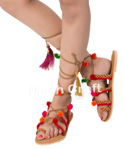 Bohemian Handmade Pom Pom Sandals with Charms
