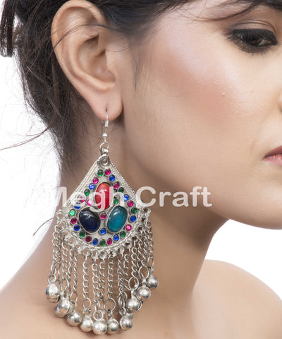 Silver Afghani Chain Hoop Earrings