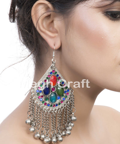 Multicolor Tribal Kuchi Hoop Earrings