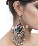 Vintage Afghani Beaded Hoop Earrings