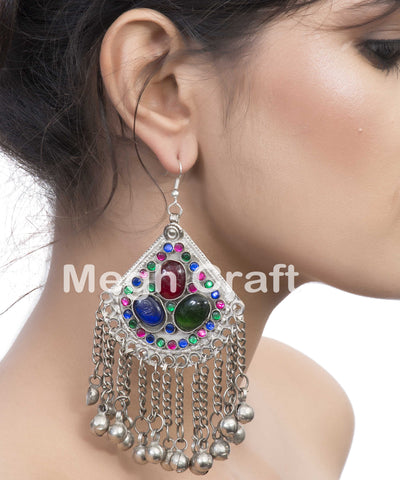 Traditional Afghan Stone Hoop Earrings