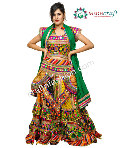 Multi Colored Cotton Embroidered Lehenga Choli