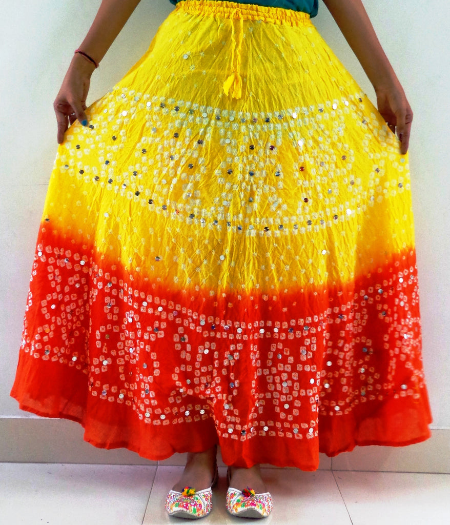 Traditional  Gujarati Bandhej Skirt