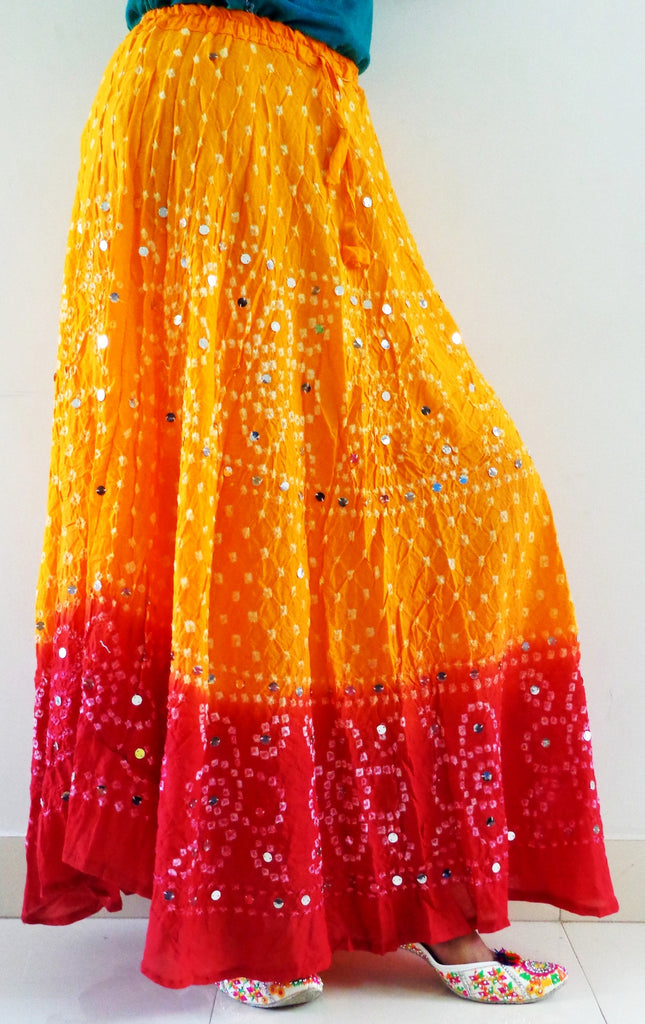 Gujarati Cotton Bandhej Skirt