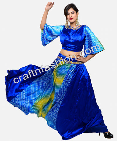 2019 Indo western style Silk Bandhej Skirt Blouse
