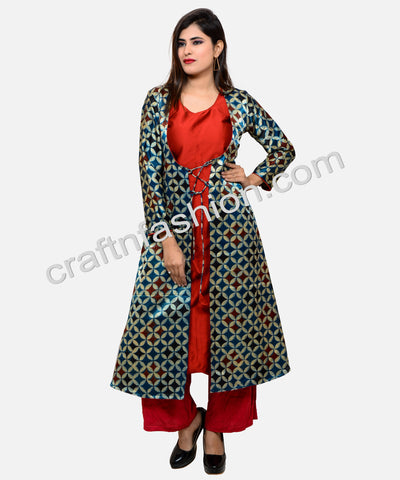 Indian Designer Gaji Silk Jacket Kurti