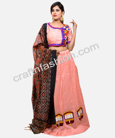 Chanderi Cotton Silk Kutch Embroidered Lehenga Choli