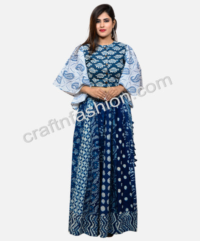 Indian Fusion Indigo Hand Block Printed Top