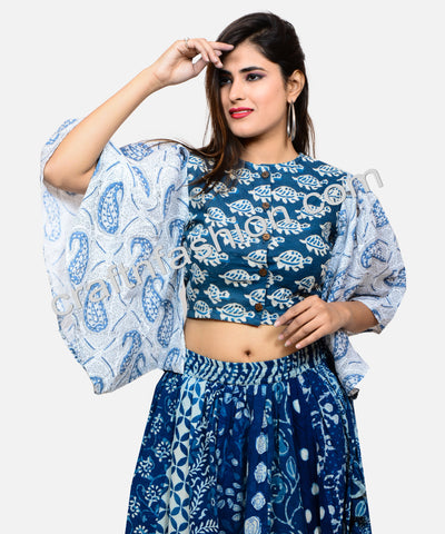 Indian Fusion Indigo Hand Block Printed Skirt-Top