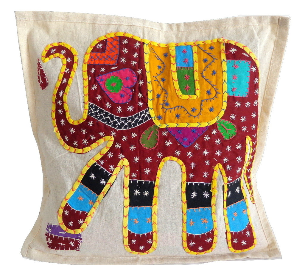 Elephant Kantha Work Cushion Cover