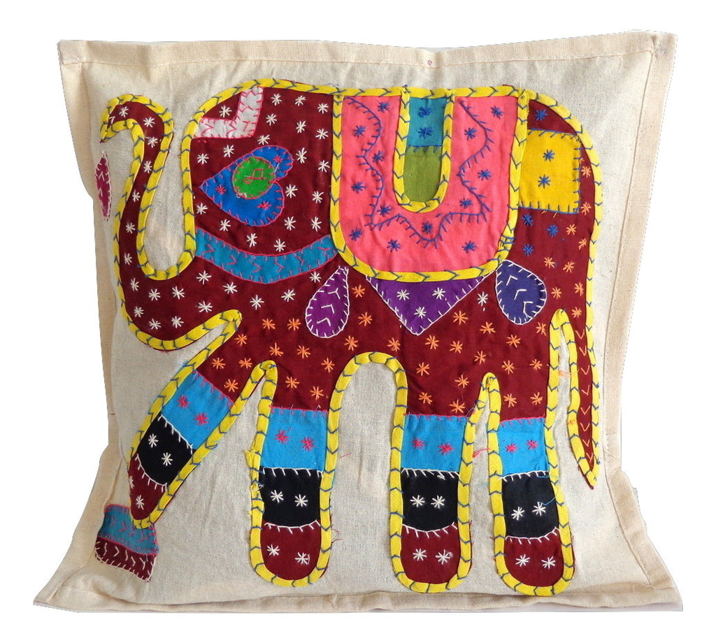 Elephant Embroidery Cushion Cover