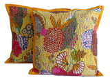 Yello Kantha  Design Cushion Cover