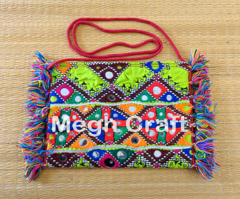Multi color embroidered wallet