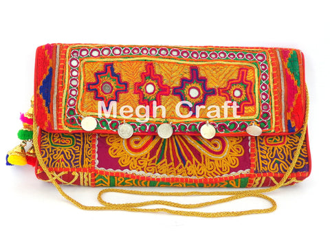 Antique Embroidered coin Clutch