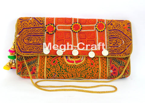 Ethnic Tribal Banjara Coin Clutch