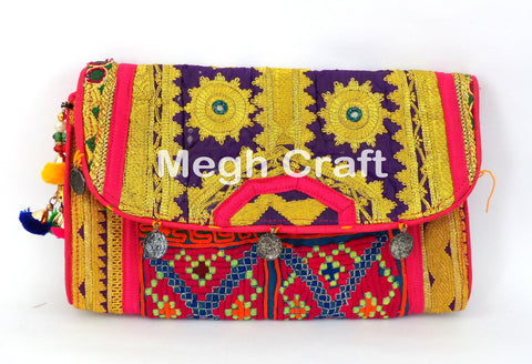 Indian Embroidered Clutch Bag
