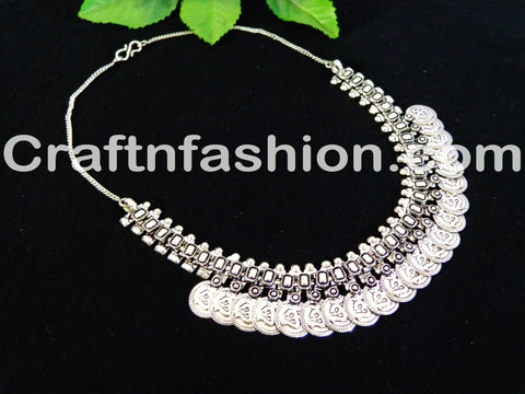 Designer  Navratri ohm Silver Coin Necklace