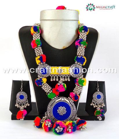 Latest Designer Silver Plated Pom Pom Necklace Set.