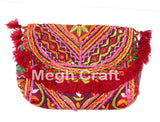 Wholesale Lot : - Kutch Vintage Style Clutch Purse-Multi Color Hand Embroidered Mirror Work Clutch Purse-6 Pieces