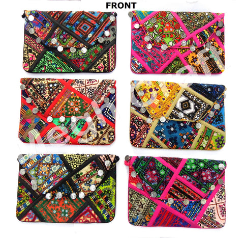 Wholesale Lot : - Indian Banjara Coin Purse - Hand Embroidered Patchwork Coin Purse - 6 Pieces