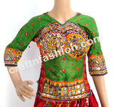 Bandhej Banjara Cotton Mirror Work Blouse-Top