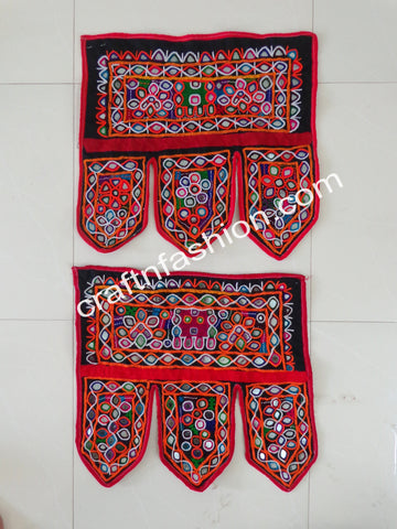 Multicolored Vintage Kutch Embroidery Toran -2 Pieces
