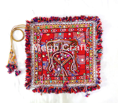 Gujarati Embroidery Mirror Chakla