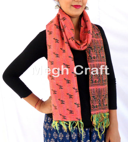 Indian Kantha Silk Scarf