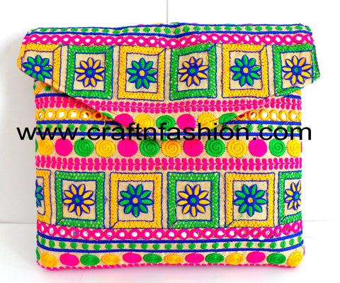 Hand Embroidered Multicolored Boho Bag