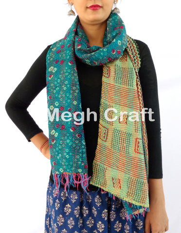 Reversible Old Sari Kantha  Scarves