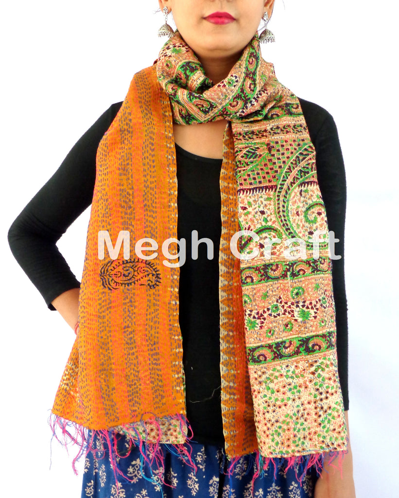 Kantha Stitch Embroidery Scarve