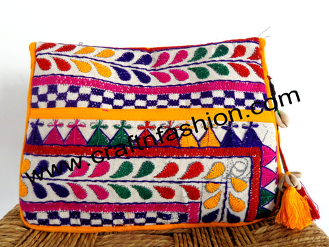 Kutchi Work Multicolored Banjara Clutch Purse